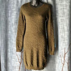 Romeo + Juliet Texture Sweater Olive Green Dress